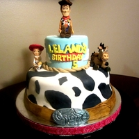 Toy Story Cake   Toy Story Cake with gumpaste/fondant handpainted Woody ,Jessie, and Bullseye.