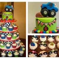"Monster Truck Cake & Cupcake Tower   6"" cake with monster truck topper/ cupcake tower I made for my son's 6th Birthday"