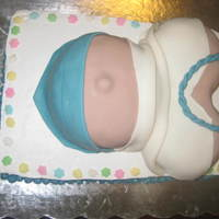 Pregnant Belly Cake I made this Pregnant Belly Cake for a friend's Baby Shower. I used a 9x13 pan for the bottom and I used whipped icing. And I used two...