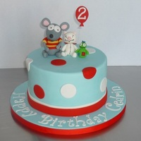"Toopy And Binoo Cake Toopy, Binoo and Patchypatch on top of an 8"" round"