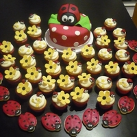 Lady Bug Themed Party Desserts cupcakes, cake and cookies for a lady bug themed party