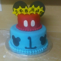 Fun To Be One! Mickey Cake Chocolate with chocolate ganache cake and marble cake on top. Mickey themed cake for a little special guy turning one :)