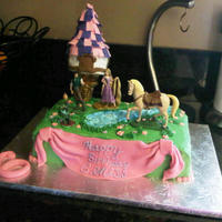 Tangled Birthday Cake Rapunzel themed birthday cake...Sheet cake for about 40 people. Vanilla with dulce de leche BC filling. The Tower is an ice cream cone and...