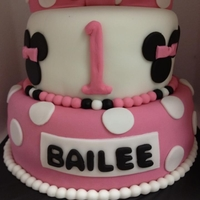 Minnie Mouse Ears Themed Cake Fondant decorated pink and white and black