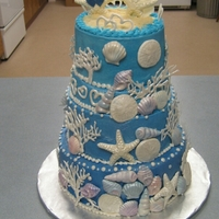 Beach Bridal Shower  This was for my niece's beach bridal shower. Shells and coral are made out of white chocolate. Buttercream frosting, Sugar colored to...