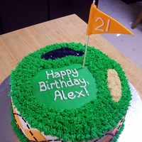 "Golf Birthday 2 - 9"" rounds with buttercream and fondant argyle."