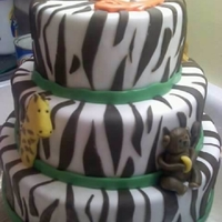 Jungle Baby Shower Zebra Print cake both inside and out.