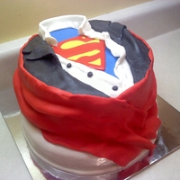 Superman Cake Covered completely in MMF, red cape and all!