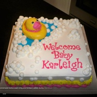 "Rubber Ducky Themed Baby Shower Cake All Edible Duck Lettering And Pond Made From Homemade Marshmallow Fondant All Else Is Buttercre Rubber Ducky themed baby shower cake. All edible. Duck, lettering, and ""pond"" made from homemade marshmallow fondant. All else is..."