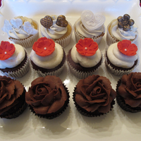 Chocolate Cupcakes With Chocolate Rose Frosting Red Velvet Cupcakes And Almond Cupcakes With Vanilla Bean Frosting All Vegan Dairy Free Chocolate cupcakes with chocolate rose frosting. Red Velvet cupcakes, and almond cupcakes with vanilla bean frosting. All vegan, dairy-free...