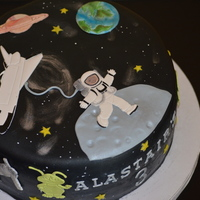 "Space Cake Having fun with Patchwork cutters with this space themed 9"" cake for my sons' birthday. 9"" cookies and cream dairy-free and..."
