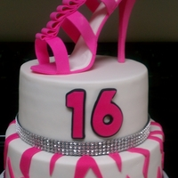 Sweet 16 2 tier yellow cake for 16th birthday