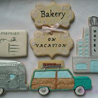 Road Trip! Gigi's Fresh Baked Vintage Vacation Cookies! Royal icing, marbleing, rubber stamping, stenciling, airbrush and hand painted!