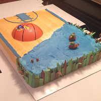 "Grooms Cake 12X16 Sheet Cake Size Half Ku Basketball And Half Duck Hunting Themed Irish Cream Cake With Buttercream Frosting  Groom's Cake (12""x16"" sheet cake size) - Half KU basketball and half duck hunting themed. Irish cream cake with buttercream..."