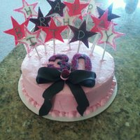 "30Th Glitsy Star Cake This cake I made for a 30th birthday girl. The cake is a small 9"" round single layer. The starts are fondant with gumpaste and..."