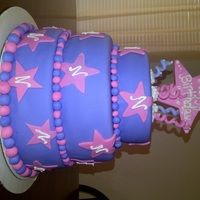 Startastic Cake for a 9yr year old star lover who's favorite colors are pink&purple