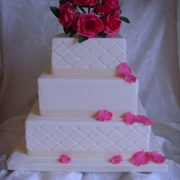 Wedding Cake With Rose Posy