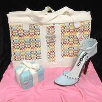 Handbag Shoe And Jewelry Box Cake For A 30Th Birthday The Cake Is 12 Vanilla And 12 Chocolate Filled With Buttercream Icing And C  *handbag, shoe, and jewelry box cake for a 30th birthday. The cake is 1/2 vanilla and 1/2 chocolate -- filled with buttercream icing and...
