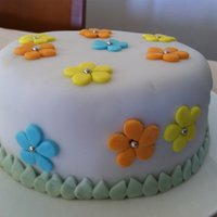 Spring Is In The Air Cake covered with packaged fondant...first time trying it and I loved it...so easy to use but a little expensive. I usually make my own.