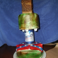 Redneck 2 tier with Beer can seperator Graham Cracker Outhouse cake topper