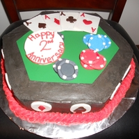 Poker Anniversary Cake BC frosting, Green Sugar Sheet, Fondant and Gum Paste accessories