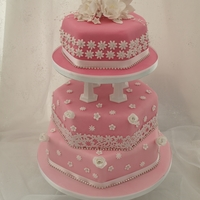 Pink And White Sparkly Hexagonal Wedding Cake