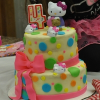 Hello Kitty I made the bow and dots out of colored fondnant and I used white buttercream for the rest fo the cake