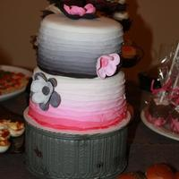 Pink And Black Two Tiered Ombre Ruffle Cake. I made this cake for my best friend's 40th birthday. The entire party theme was pink and black.