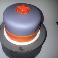 "Gray And Orange 5"" Birthday Cake Gray and orange 5"" birthday cake. Red velvet cake with cream cheese frosting (hence the reason I didn't get those sharp edges I..."