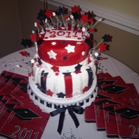 Red Black Graduation Stars My nephew's graduation cake.