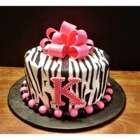 Pink Zebra Striped Bling Cake   The inside of the cake was done in pink and white zebra print