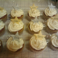 New Year 2012   Red velvet cupcakes with cream cheese frosting and fondant star