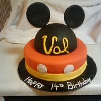 Mickey! This cake was for a Micky Mouse fanatic who's birthday is on Leap Day, 2/29. So she isn't really 14.