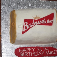 Budweiser Can Cake   buttercream icing with fondant logo and tab.
