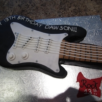 Guitar Cake   fondant covered guitar cake