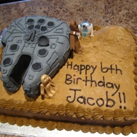 Star Wars Cake   buttercream icing with fondant covered krispy ship