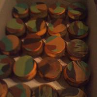 Spiritual Cross And Flower Cupcakes I loved these. Cupcakes are camo inside and I used hunter orange frosting underneath fondant tops.