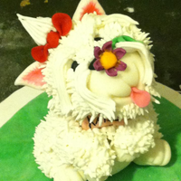 Little Westie Dog  This is a project I was a little scared to take. My neighbor wanted a westie that looked like her dog on top of a cake for lil katies...