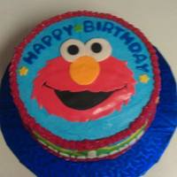 Elmo Cake Elmo Birthday cake for my nephew, Vanilla and Chocolate swirl cake, with Vanilla buttercream.
