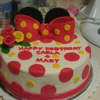 Minnie Mouse Ears Cake For A Friend The Cake Is Made Out Of White Chocolate Frosting And Pound Cake And Strawberrys Minnie Mouse ears cake for a friend: The cake is made out of white chocolate frosting and pound cake and strawberrys