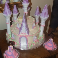 Twins 2Nd Birthday Cake This is the cake we did for our twins second birthday. The Castle was done w/ Wiltons castle set and the 2 princesses were done using a 1...