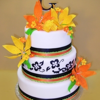 Black And White Damask With Bright Lime, Orange & Yellow Lilies Black and White Damask with Bright Lime, Orange & Yellow Lilies