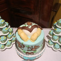 Monkey Baby Shower Cake Amp Cupcakes Monkey Baby Shower cake & cupcakes