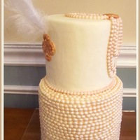Great Gatsby Inspired Pearl And Feather Bridal Shower Cake Great Gatsby inspired pearl and feather bridal shower cake.