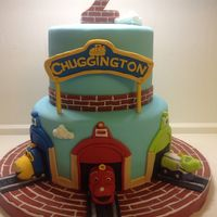 Chuggington Chuggington cake, gumpaste sign, #2, and trains.