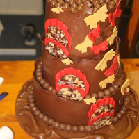 Chocolate, Chocolate, Chocolate choc mud cake,wrapped in Belgium modeling chocolate. all decorations are chocolate