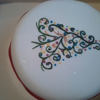 1325245046.jpg free hand painting in food colour gels on a covered fruit cake