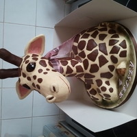 Baby Giraffe Head and neck are rice crisp treat with cake dowel down the neck and in the main body is a hollow cake pillar also filled with crispy treat...