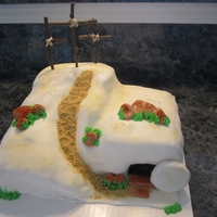 Empty Tomb Covered in fondant with fondant accent. The crosses are sticks.