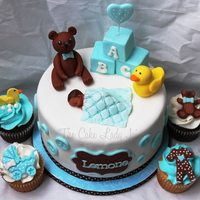 Boy Baby Shower Baby shower cake and cupcakes :)